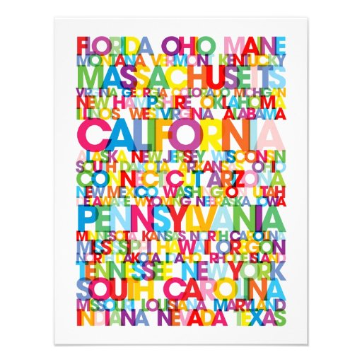 United States USA Text Bus Blind Personalized Invitations