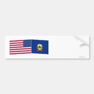 United States & Vermont Flags Bumper Sticker
