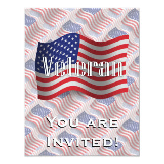 United States Veteran Waving Flag 11 Cm X 14 Cm Invitation Card