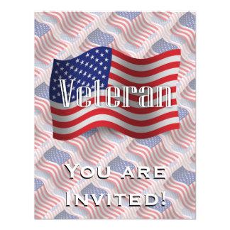 United States Veteran Waving Flag Personalized Invitation