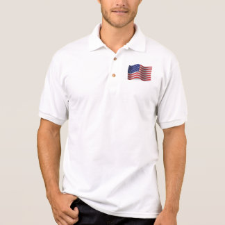 United States Veteran Waving Flag Polo Shirt