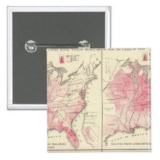 United States vitality maps 15 Cm Square Badge