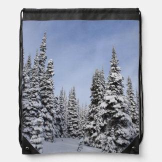 United States, Washington, snow covered trees Drawstring Bag