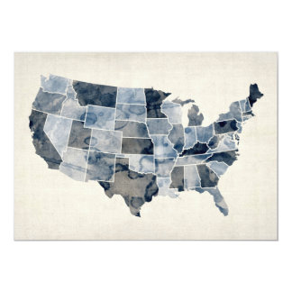 United States Watercolor Map 13 Cm X 18 Cm Invitation Card