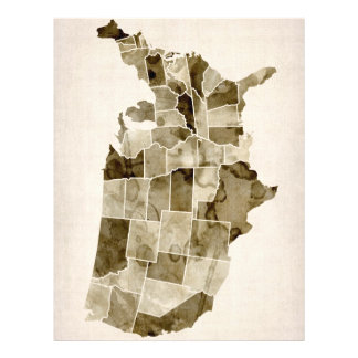 United States Watercolor Map Full Colour Flyer