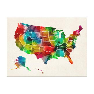 United States Watercolor Map Gallery Wrapped Canvas