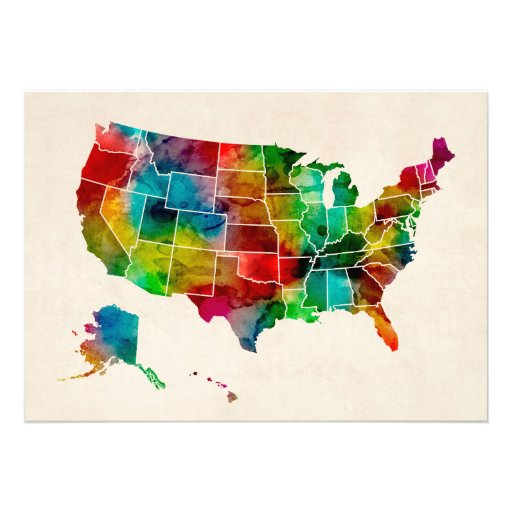 United States Watercolor Map Personalized Invites
