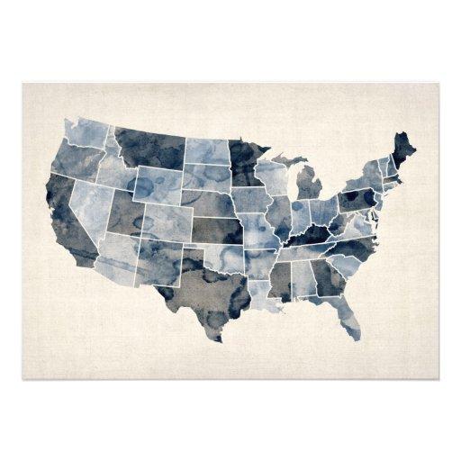 United States Watercolor Map Custom Invite