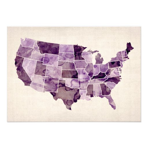 United States Watercolor Map Custom Announcement