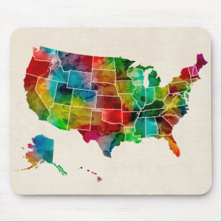 United States Watercolor Map Mouse Mat
