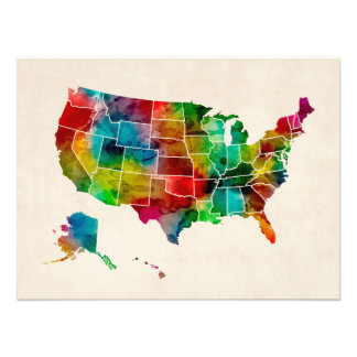 United States Watercolor Map Photo