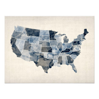 United States Watercolor Map Photograph