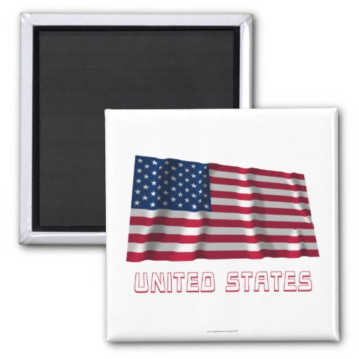 United States Waving Flag with Name Refrigerator Magnets