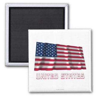 United States Waving Flag with Name Square Magnet