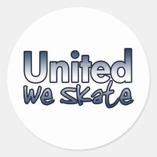 United We Skate Round Sticker