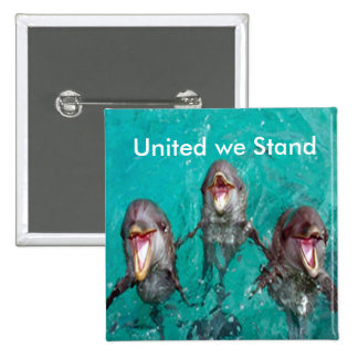 United we stand Dolphins in the ocean 15 Cm Square Badge
