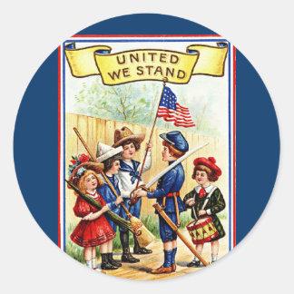 united we stand round stickers