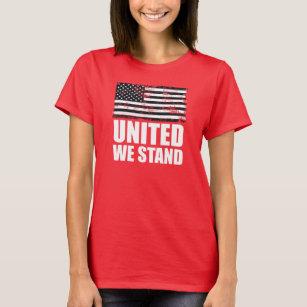 79e6b7e3 United we stand thin blue line Grunge USA Flag T-Shirt
