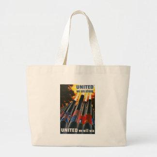 United We Win World War II Jumbo Tote Bag