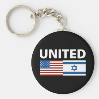 United with Israel Basic Round Button Key Ring