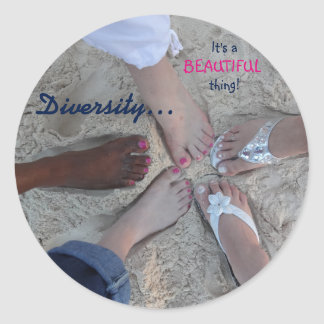 Unity! Ethnic Diversity Rum Point Cayman Islands Classic Round Sticker
