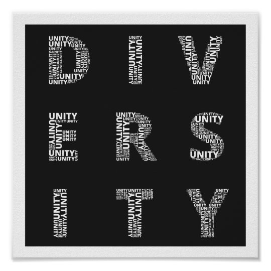 Unity in Diversity Black and White poster