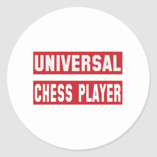 Universal Chess player. Round Sticker