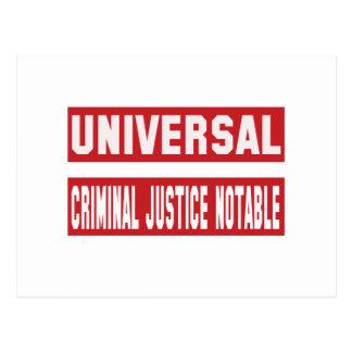 Universal Criminal justice notable. Postcard