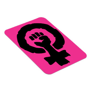 Universal Female symbol Solidarity hand Hot Pink Rectangular Photo Magnet