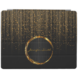 Universal Gold Star Light Shower and Black Design iPad Cover