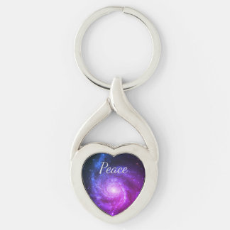 Universal peace Silver-Colored twisted heart key ring