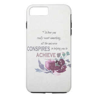 UNIVERSE CONSPIRES YOU TO ACHIEVE DEEP PINK FLORAL iPhone 8 PLUS/7 PLUS CASE