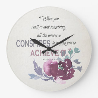 UNIVERSE CONSPIRES YOU TO ACHIEVE DEEP PINK FLORAL LARGE CLOCK