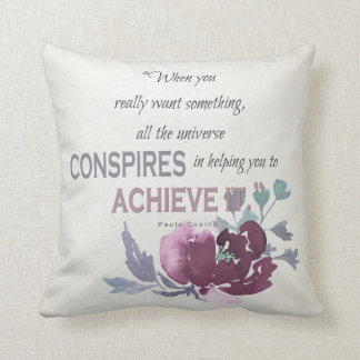 UNIVERSE CONSPIRES YOU TO ACHIEVE DEEP PINK FLORAL THROW PILLOW