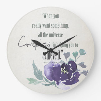 UNIVERSE CONSPIRES YOU TO ACHIEVE INK BLUE FLORAL CLOCKS