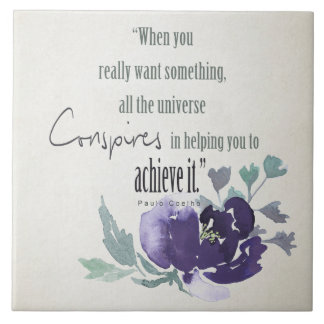 UNIVERSE CONSPIRES YOU TO ACHIEVE INK BLUE FLORAL LARGE SQUARE TILE