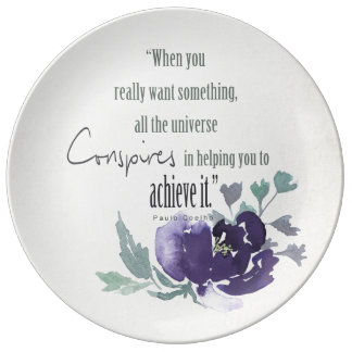 UNIVERSE CONSPIRES YOU TO ACHIEVE INK BLUE FLORAL PLATE