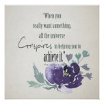 UNIVERSE CONSPIRES YOU TO ACHIEVE INK BLUE FLORAL POSTER