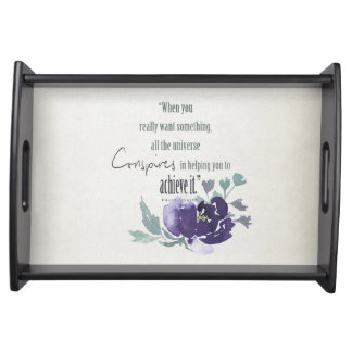 UNIVERSE CONSPIRES YOU TO ACHIEVE INK BLUE FLORAL SERVING TRAY