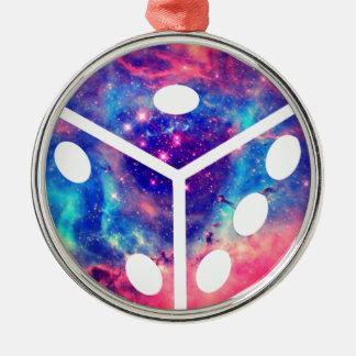 Universe Dice Silver-Colored Round Decoration