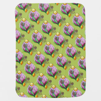 Universe of nut - pop nature illustration green baby blankets