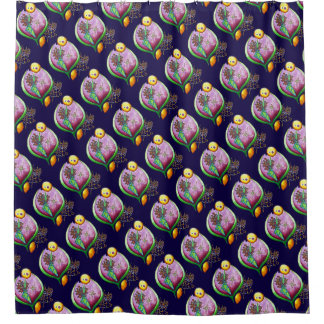 Universe of nut - pop nature illustration green shower curtain
