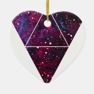Universe Of Triangles Space Life Ceramic Heart Decoration