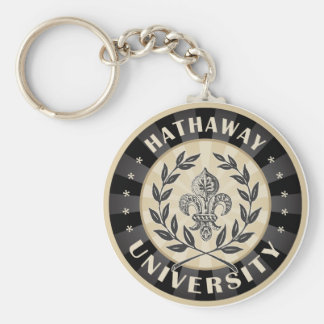University Hathaway Black Basic Round Button Key Ring