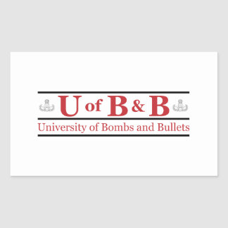 University of Bombs Bullets Rectangle Sticker