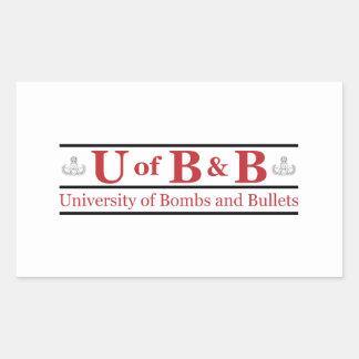 University of Bombs & Bullets Rectangle Sticker