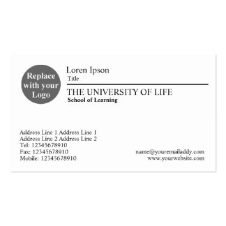 University of Life - Black Rule Business Card Template