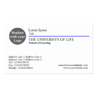 University of Life - Blue Rule Business Cards