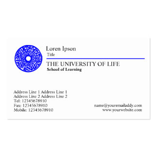 University of Life - Blue Rule Pack Of Standard Business Cards
