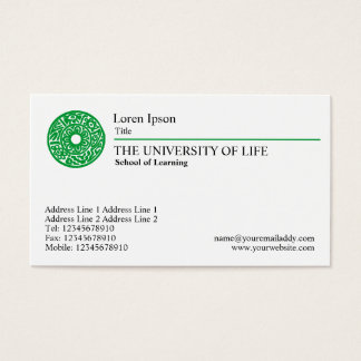 University of Life - Green Rule Business Card